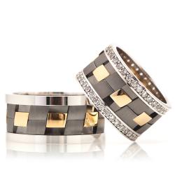 Sıradışı Farklı Tasarım Gümüş Alyans Ra144 - Thumbnail