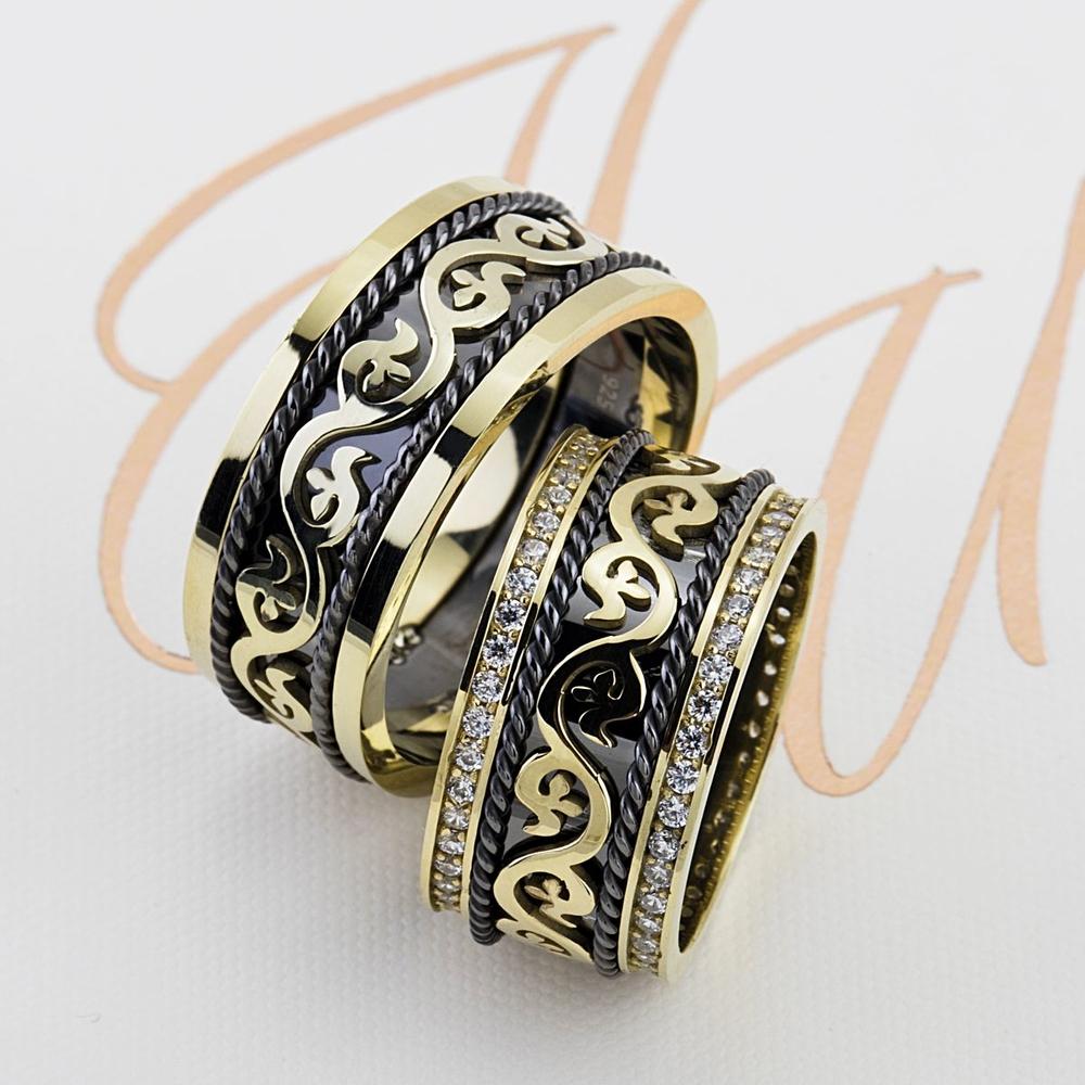 Sıradışı Tasarım Çift Gümüş Alyans Tl103
