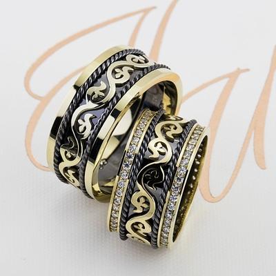 Sıradışı Tasarım Çift Gümüş Alyans Tl103 - Thumbnail