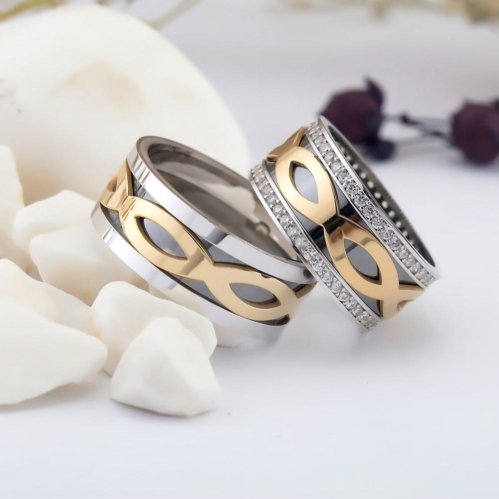 Sonsuzluk Motifli Çift Gümüş Alyans Pd105
