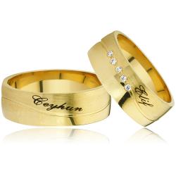 Zirkon Taşlı Ve Altın Kaplama Gümüş Alyans Na107 - Thumbnail